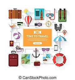 夏, セット, アイコン, 休暇, 旅行, 観光事業