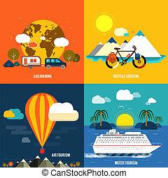 夏, セット, アイコン, 休暇, 計画, 旅行