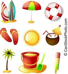 夏, セット, アイコン, 暑い, 砂, 時間, 浜