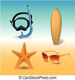 夏, セット, アイコン, 海岸, 隔離された, イラスト, ホリデー, 現実的, ベクトル, 浜