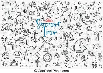 夏, セット, アウトライン, 大きい, 主題, 要素, 図画, doodles