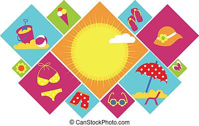 夏, セット, カラフルである, アイコン
