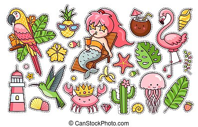 夏, セット, フラミンゴ, 面白い, オウム, leaves., カクテル, トロピカル, 王冠, かわいい, カニ, stickers., ハチドリ, mermaid