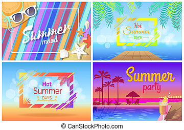 夏, セット, ポスター, 浜, 構成, 風景