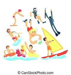 夏, セット, 人々, 休暇, スポーツ, 水, 楽しみ, 海, イラスト, 遊び, 浜, 持つこと