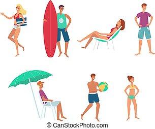 夏, セット, 人々, 休暇, 平ら, ベクトル, 海