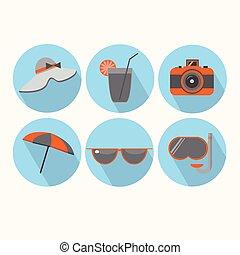 夏, セット, 休暇, コレクション, 休日, 観光事業, アイコン