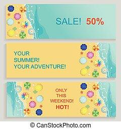 夏, セット, 旅行, 海岸, starfish., イラスト, ベクトル, 水平なバナー