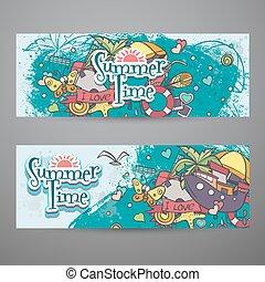 夏, セット, 有色人種, doodles, 水平なバナー