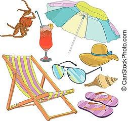 夏, セット, 浜の 休暇