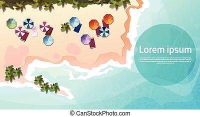 夏, セット, 浜の 休暇, トロピカル, 砂, 休日, 旗