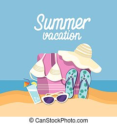 夏, セット, 浜の 休暇, トロピカル, 砂, 旗