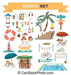 夏, セット, 浜, オブジェクト