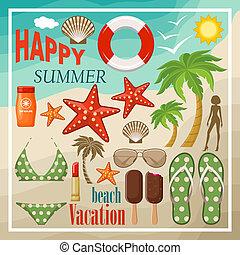 夏, セット, 浜