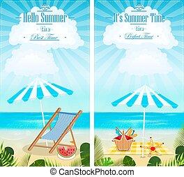 夏, セット, 縦, 休暇, イラスト, ベクトル, seascapes, 旗