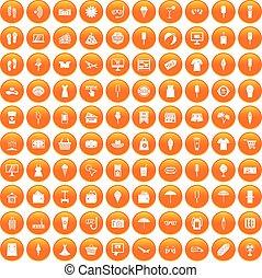 夏, セット, 買い物, アイコン, オレンジ, 100