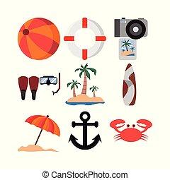 夏, セット, 関係した, 原料, デザイン, イラスト, アイコン