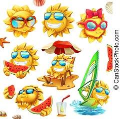 夏, セット, characters., ベクトル, 太陽, 楽しみ, 3d, アイコン