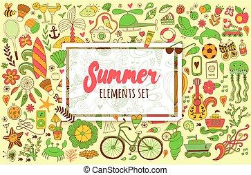 夏, セット, elements., いたずら書き, 旅行, 図画