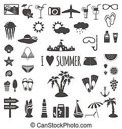 夏, セット, icons., 平ら