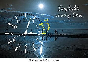 夏, セービング, 時計, 日光, time., 変化しなさい