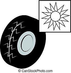夏, タイヤ, 太陽, 隔離された, 背景, 白