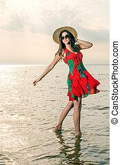 夏, ダンス, わら帽子, 服, 女の子, 浜