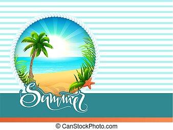 夏, テキスト, 挨拶, ホリデー, 浜, カード