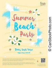 夏, テンプレート, ポスター, 手ざわり, 砂, 黄色の背景, パーティー, 浜
