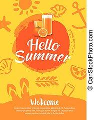 夏, テンプレート, ポスター, 背景, パーティー, 浜, こんにちは