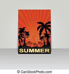 夏, デザイン, フライヤ