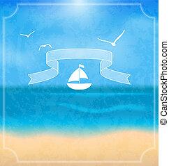 夏, デザイン, 休日, 浜, あなたの, カード