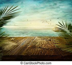 夏, デザイン, -, 海の 眺め
