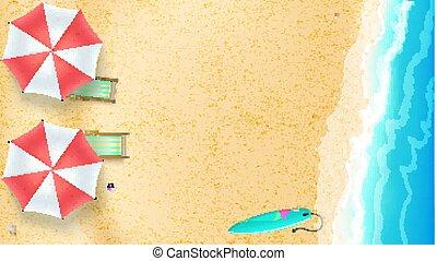 夏, デッキ, 瞬間, 海岸, 砂, 太陽, 上, 最も良く, ポジション, 浜, 3d, 平ら, 浜。, 海景, 位置, 背景, 波, illustration., surfboard., 椅子, サーフィンをしなさい, ベクトル, 夏, 傘, 光景