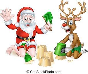 夏, トナカイ, 浜, クリスマス, santa
