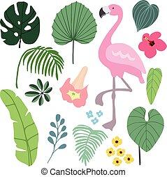 夏, トロピカル, グラフィック, 要素, ∥で∥, フラミンゴ, bird., ジャングル, 花, イラスト,...