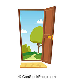 夏, ドア, 開いた, 平ら, 自由, concept., 隔離された, 漫画, 前部, ビュー。, 景色。, illustration.