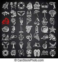 夏, ドロー, 49, アイコン, スケッチ, コレクション, 手, 黒い背景