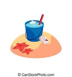 夏, バケツ, 現場, 水, 砂ビーチ