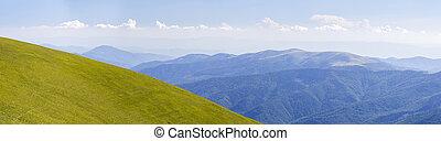 夏, パノラマ, 緑丘, 山
