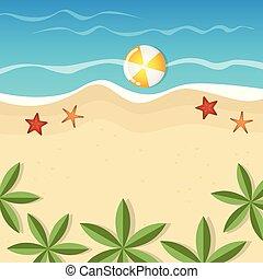 夏, ヒトデ, やし, 背景, 休日, 浜