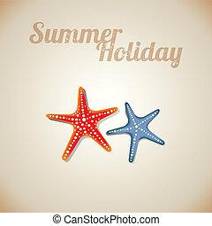 夏, ヒトデ, 自然, ベクトル, 背景, 浜