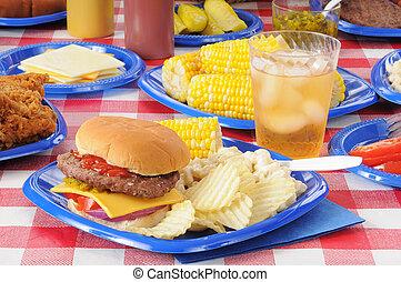 夏, ピクニック, ごちそう