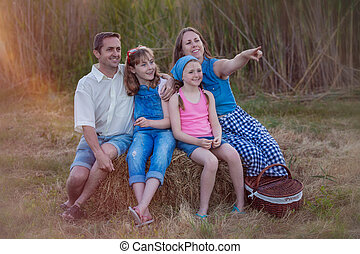 夏, ピクニック, 家族, 健康, 屋外で, 幸せ