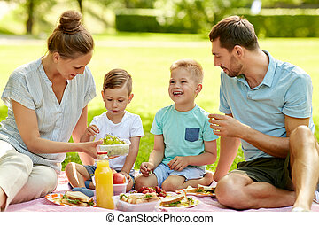 夏, ピクニック, 家族, 公園, 持つこと, 幸せ