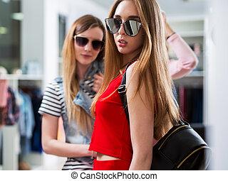 夏, ファッション, サングラス, モデル, コレクション, 魅力的, 女性, 新しい, 店, 広告