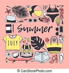 夏, ファッション, 芸術, work., drawing., pattern., doddle, イラスト, 手, トロピカル, バックグラウンド。, ベクトル, 芸術的, インク, 引かれる, オブジェクト, 創造的, 季節