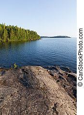 夏, フィンランド, 湖, 風景, 朝