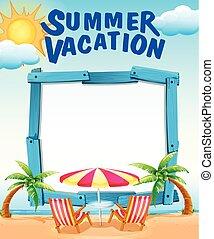 夏, フレーム, 浜の 休暇, テンプレート
