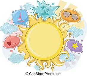夏, フレーム, 背景, 太陽